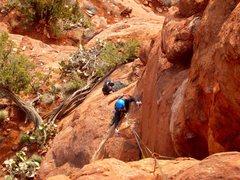Rock Climbing Photo: Nate traversing across to the base of the main cor...