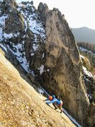 Rock Climbing Photo: V topping out P9 of Silver Lining on The Fin with ...