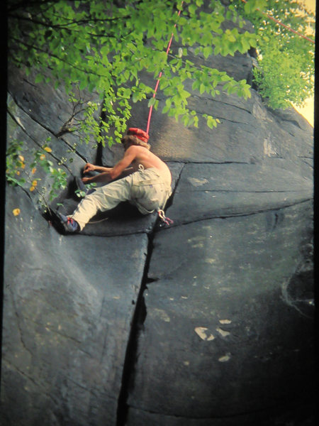 7-4-77 Jerry Erb climbing Crucial Groove, Cesspool area, gear and fashion improved.