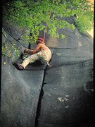 Rock Climbing Photo: 7-4-77 Jerry Erb climbing Crucial Groove, Cesspool...