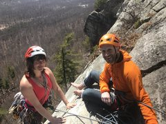 Jennie finishing up P2 of Arrow with Chris on belay ... sunny day, nice people.
