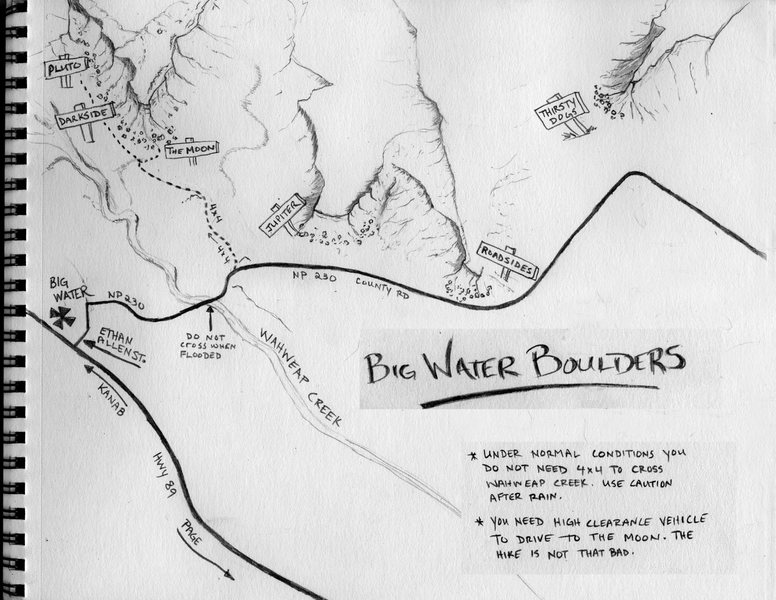 Overview Map of the Big Water Boulders