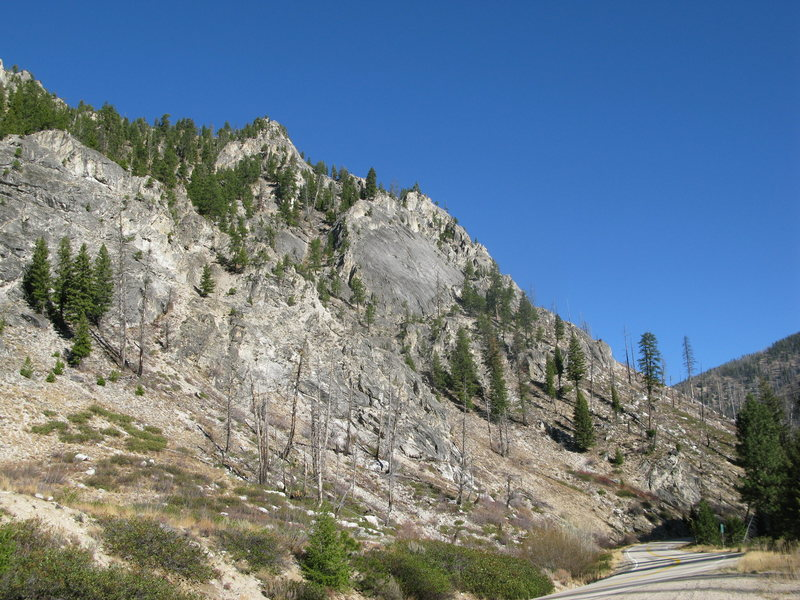 The shield as seen from highway 21. The flake roof on pitch 2 is left of center.