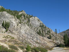 Rock Climbing Photo: The shield as seen from highway 21. The flake roof...