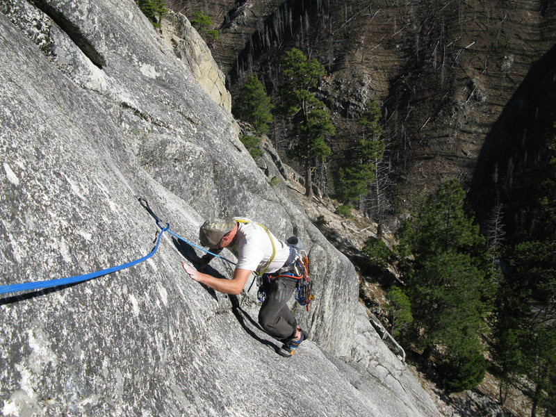 Rob getting smeary on crux pitch 2