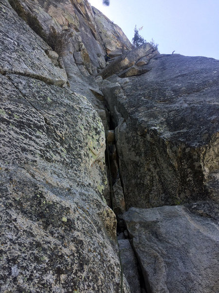 looking up at pitch 3, ends at Pine Tree Ledge on the upper right