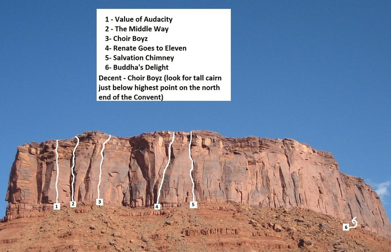 Rock Climbing Photo: Route Beta with Buddha's Delight shown on righ...
