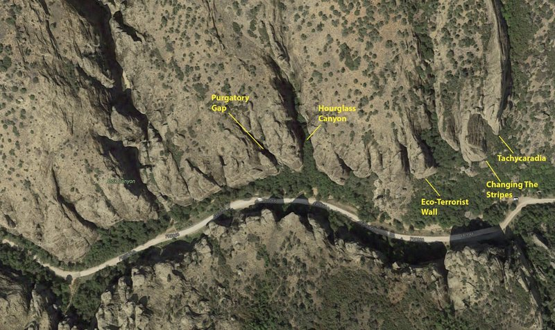 Rock Climbing Photo: Birds eye view of lower Maple Canyon and the Purga...