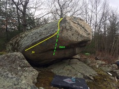 Rock Climbing Photo: Unnamed V3 arete to mantel.