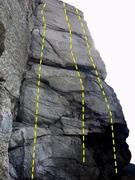 Rock Climbing Photo: Royal Wall routes L-R The Sharp-End Dagger, Queen ...