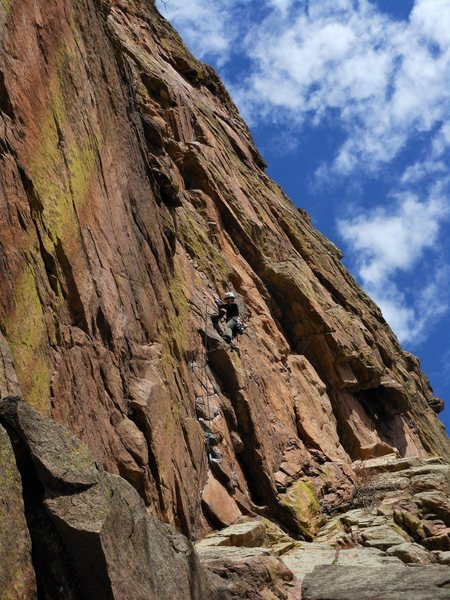 Jo puzzles out the crux on Diffraction (10a/b).<br> <br> Photo by Tony B.