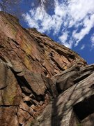 Rock Climbing Photo: Jo puzzles out the crux on Diffraction (10a/b), as...