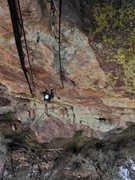 Rock Climbing Photo: Joseffa follows P1 of Metamorphosis, just below th...