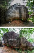 Rock Climbing Photo: Topo of Sister 1: from V1 to project