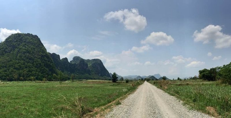 A gravel road lead to the mountain area at Dong Lan Forest, Si Chompu, Khon Kaen