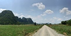 Rock Climbing Photo: A gravel road lead to the mountain area at Dong La...