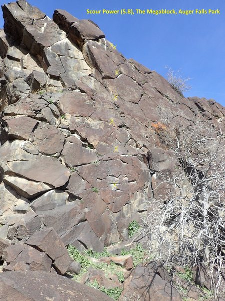Scour Power (5.8) at west end of south facing slab.