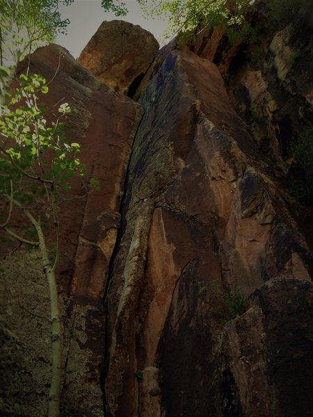 Generations on the left and Hand Prints the bolted arete on the right
