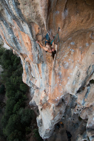Rock Climbing Photo: Leo on the steep, intimidating tufa that is Anacon...