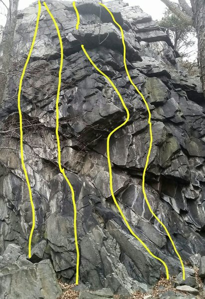 Balcony Rock routes from left to right: Popeye&@POUND@39@SEMICOLON@s, Poopdeck Pappy, Brutus, Professor Whatasnozzle