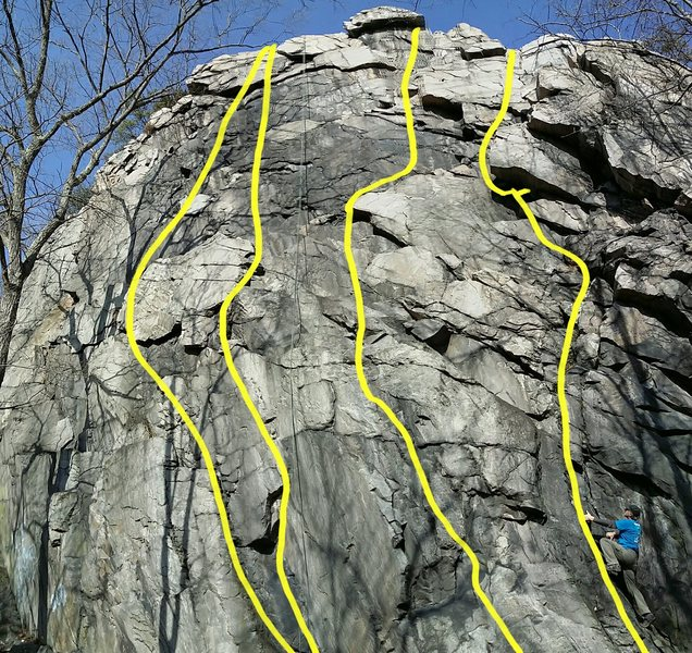 Balcony Rock routes from left to right: Cliff Monster, Bluto&@POUND@39@SEMICOLON@s Bluster, Sweet Pea, Crown of Thorns
