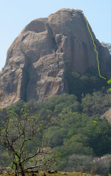 Rock Climbing Photo: Route (approx). Pic courtesy Samiran