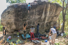 Rock Climbing Photo: Group of climbers at His Chang Si, Nam Pong Nation...