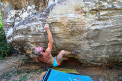 Rock Climbing Photo: James on The Dangerous M.Foley V6 during the 1st K...