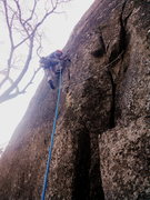 Rock Climbing Photo: Start of P1, notice the first cam placed on the ri...