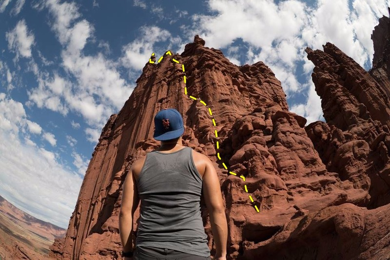 Rock Climbing Photo: fisheye shot of stolen chimney.  the first two pit...