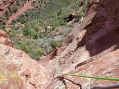Rock Climbing Photo: Mark coming up the first pitch.