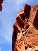 Rock Climbing Photo: Mark leading the sweet bombay/roof feature on P2.