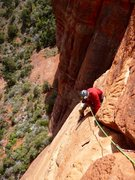 Rock Climbing Photo: Mark nearing the top of P3.
