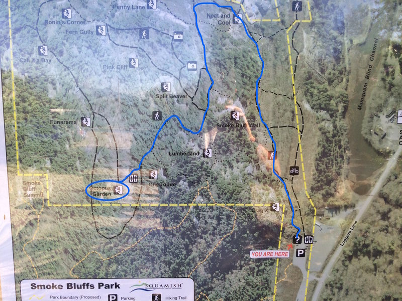 Picture of the trail map with the route drawn from the parking lot to the base of the route.