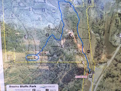 Rock Climbing Photo: Picture of the trail map with the route drawn from...