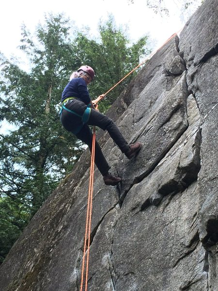Rock Climbing Photo: Me, rappelling down after setting TR anchors with ...