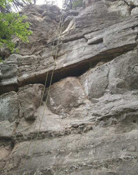 Thin Crack and Stand Off<br> <br> The rope is set on Thin Crack. Stand Off is just to the right. This picture was taken before the routes were bolted.