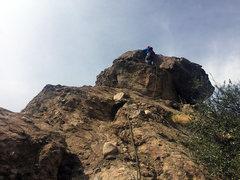 Rock Climbing Photo: Gabe heading over p3