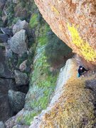 First pitch chimney grovel. HBagshaw climbing.