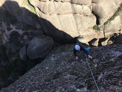 Nearing the top of the third pitch. HBagshaw climbing.