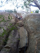 Rock Climbing Photo: Samiran Kolhe leading Bombs Away, just after the c...