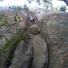Samiran Kolhe leading Bombs Away, just after the crux. Start under the roof, left side and move to the right crack