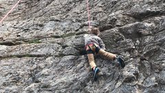 Rock Climbing Photo: My 5-yrs son on Take Me To The River.