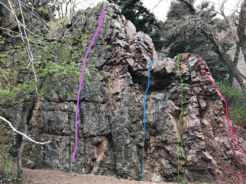 Rock Climbing Photo: Left to right, Launch, Sandpaper Cloud, Stun the H...
