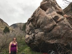 Rock Climbing Photo: The two problems on the backside of the boulder. C...