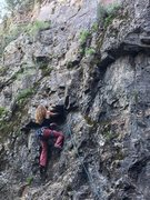 Rock Climbing Photo: Kelly D. at the overhang on Eire Girl