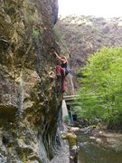 Rock Climbing Photo: Kelly Douglas on Water Boy 10b Belayed by Darren O...