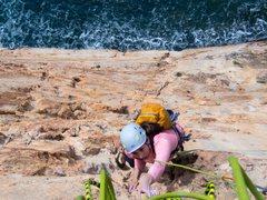 Rock Climbing Photo: Amanda showing how to climb through steep exposure...