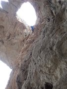 Rock Climbing Photo: Climber approaching the exit of Parle. Rap line se...