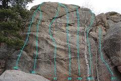 Rock Climbing Photo: Topo of routes #5 through #11.